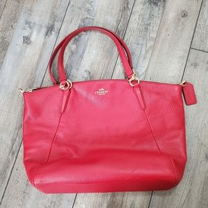 Coach red leather handle purse